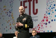 Rear Adm. Ed Dieser, P.E., USPHS, speaks during the Engineering Service Chiefs Panel at the 2018 SAME Joint Engineer Training Conference in Kansas City, Mo.