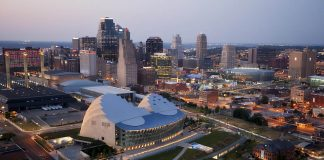 Downtown Kansas City Missouri skyline via helicopter on the evening of Monday, June 18, 2012.