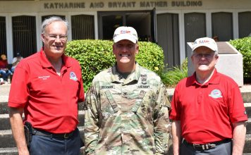 SAME President Buddy Barnes (right) visiting the SAME/Army Engineering & Construction Camp in 2019.
