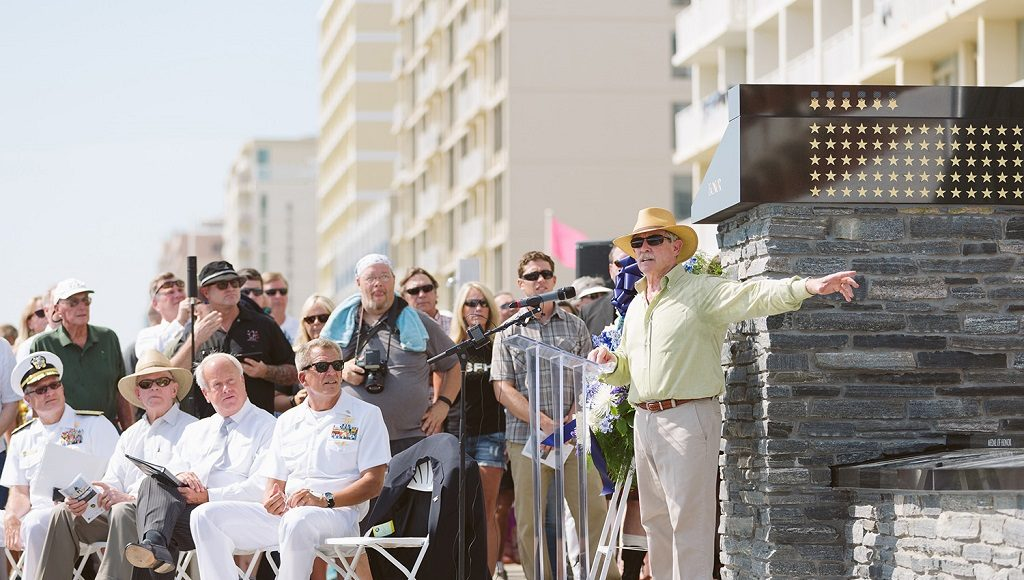 Dedication ceremony for Navy SEAL monument.