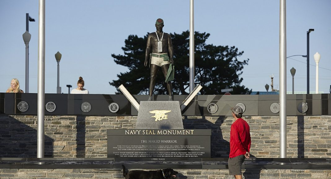 Naked Warrior depicted on Navy SEAL monument.
