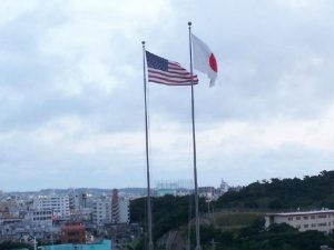 Flags of the U.S. and Okinawa, Japan